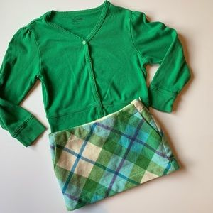 Gap wool plaid skirt + cardigan sz 5